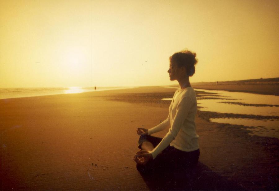 meditacao, praia