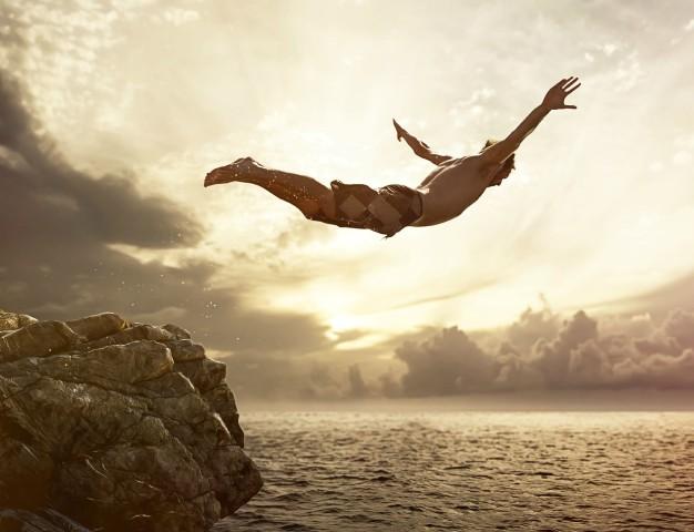 superação, salto, mar, pulo, mergulho