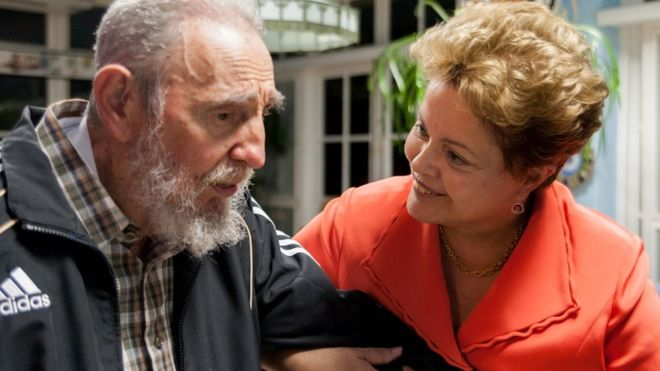 Dilma Rousseff com Fidel Castro em Havana.